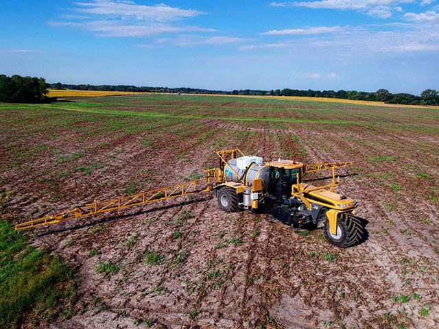 Aerial view of a sprayer