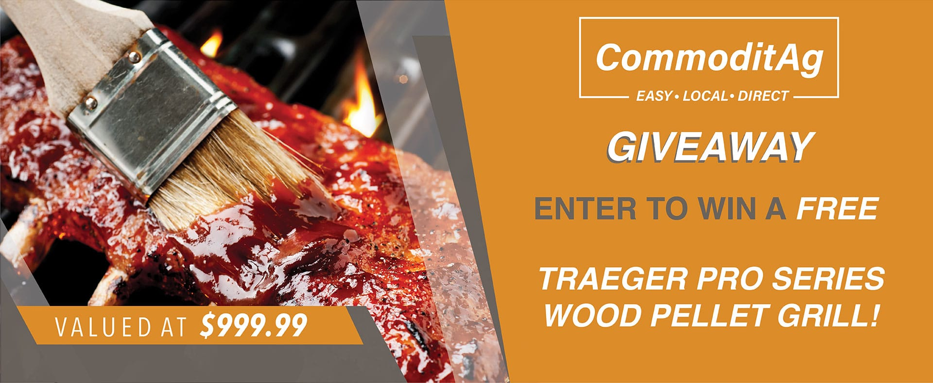 Brush rubbing barbecue sauce over ribs on a grill with giveaway details